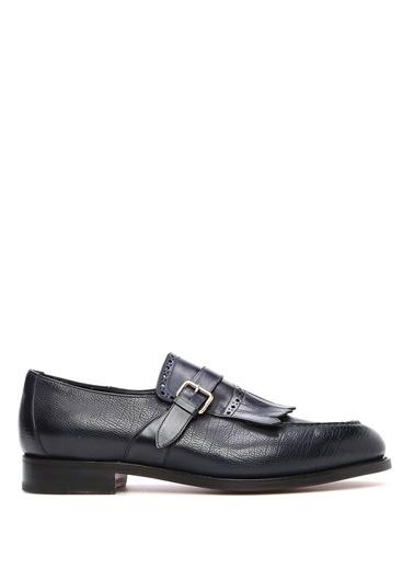 Santoni %100 Deri Kemerli Ayakkabı Lacivert